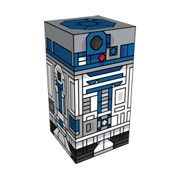 360 degree spinnable 3D preview of the R2-D2 Squatties character. From the Star Wars set.