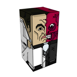 360 degree spinnable 3D preview of the Two Face Squatties character. From the Batman set.