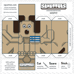 The Squatties Gromit paper toy character