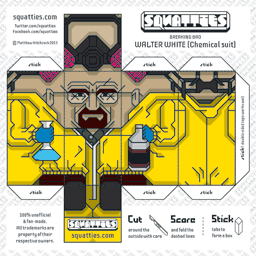 The Squatties Walter White paper toy character