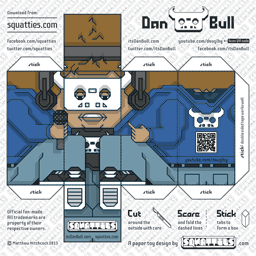 The Squatties Dan Bull paper toy character