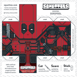 The Squatties Deadpool paper toy character