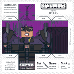 The Squatties Hit-Girl paper toy character