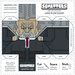 The Squatties Lord Alan Sugar paper toy character