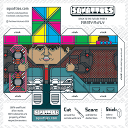 The Squatties Marty McFly paper toy character