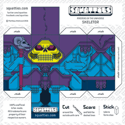 The Squatties Skeletor paper toy character