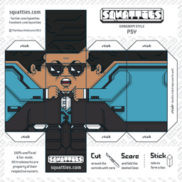 The Squatties Psy paper toy character