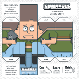 The Squatties Jerry Smith paper toy character