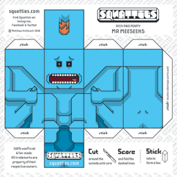 The Squatties Mr Meeseeks paper toy character