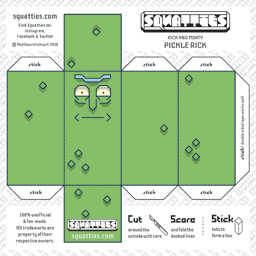 The Squatties Pickle Rick paper toy character