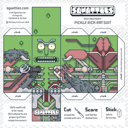 The Squatties Pickle Rick - Rat Suit paper toy character