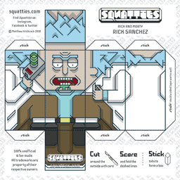 The Squatties Rick Sanchez paper toy character