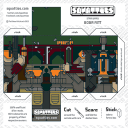 The Squatties Boba Fett paper toy character