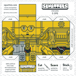 The Squatties C-3PO paper toy character