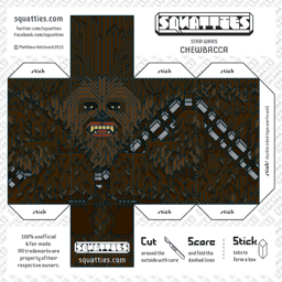 The Squatties Chewbacca paper toy character