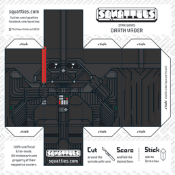 The Squatties Darth Vader paper toy character