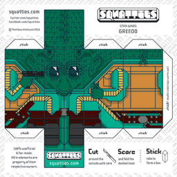 The Squatties Greedo paper toy character