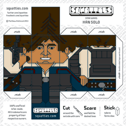 The Squatties Han Solo paper toy character