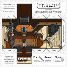 The Squatties Leia Boushh Bounty Hunter paper toy character