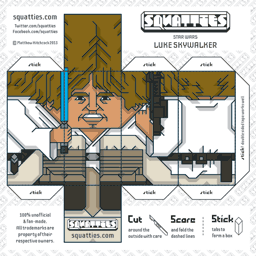 The Squatties Luke Skywalker paper toy character