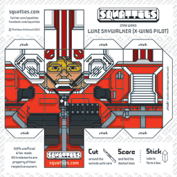 The Squatties Luke Skywalker X-Wing paper toy character