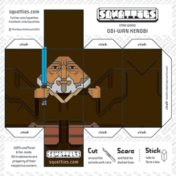 The Squatties Obi-Wan Kenobi paper toy character