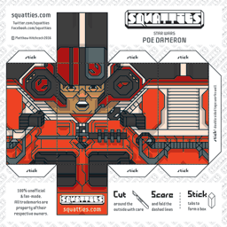 The Squatties Poe Dameron paper toy character