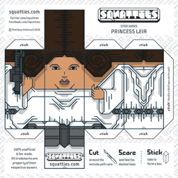 The Squatties Princess Leia paper toy character