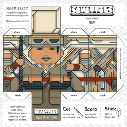 The Squatties Rey paper toy character