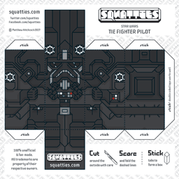 The Squatties Tie Fighter Pilot paper toy character