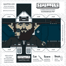 The Squatties Scroobius Pip paper toy character