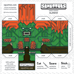 The Squatties Blanka paper toy character