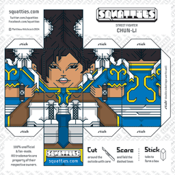 The Squatties Chun Li paper toy character