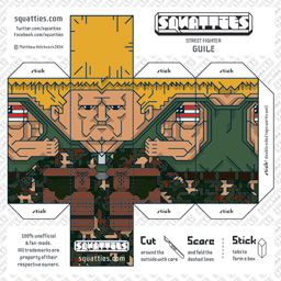 The Squatties Guile paper toy character