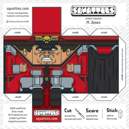 The Squatties M. Bison paper toy character