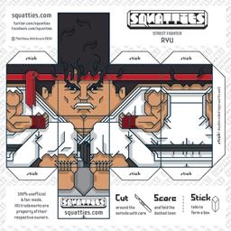The Squatties Ryu paper toy character