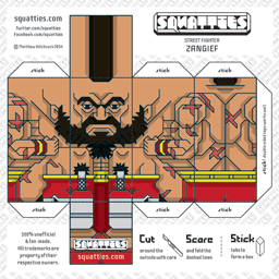 The Squatties Zangief paper toy character