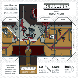 The Squatties Zombie Adolf Hitler paper toy character
