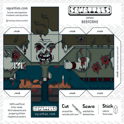 The Squatties Zombie Beefcake paper toy character