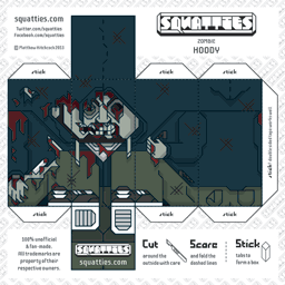 The Squatties Zombie Hoody paper toy character