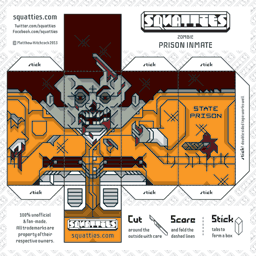 The Squatties Zombie Inmate paper toy character