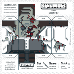 The Squatties Zombie Scientist paper toy character