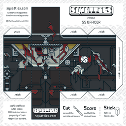 The Squatties Zombie SS Officer paper toy character