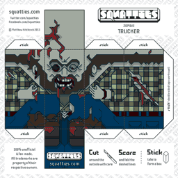 The Squatties Zombie Trucker paper toy character