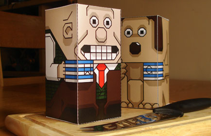 Wallace and Gromit paper toy characters on cheeseboard